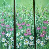 Meadow flower triptych